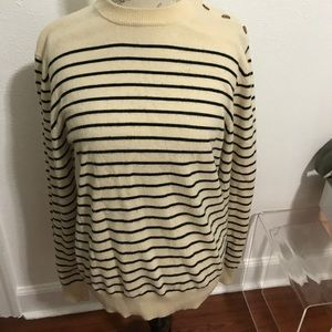 French Connection sweater cream w/blue stripes
